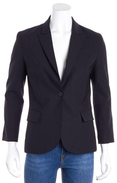 THEORY Navy Blue One Button Wool Blazer