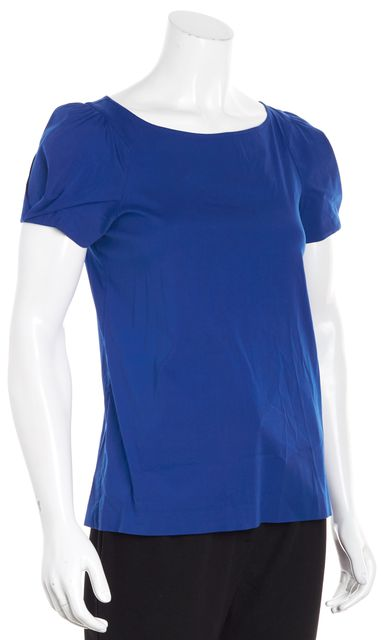 THEORY Cobalt Blue Short Sleeve Blouse