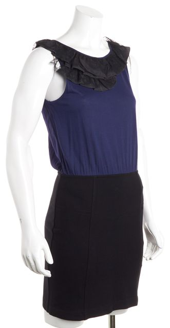 THEORY Blue Black Ruffle Blouson Dress