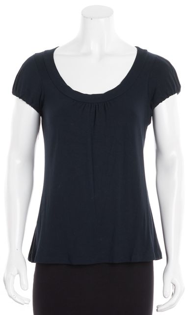 THEORY Navy Blue Ruched Puffed Cap Sleeve Swoop Neck Pull On Blouse