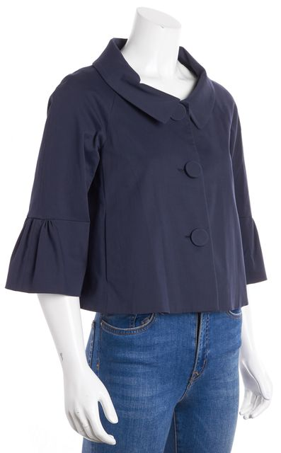 THEORY Navy Blue Ruched Bell Sleeves Blazer