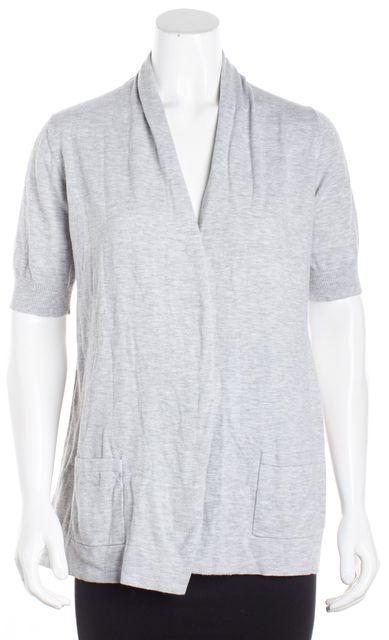 THEORY Gray Cardigan Short Sleeve Sweater