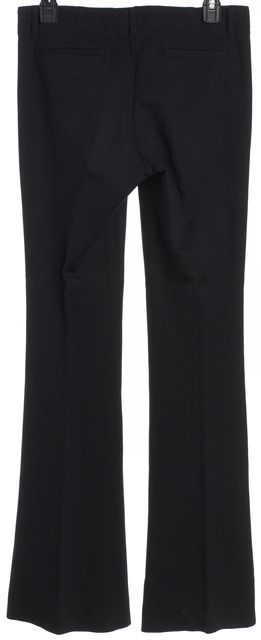 THEORY Black Stretch Knit Button Front Bell Bottom Dress Pants