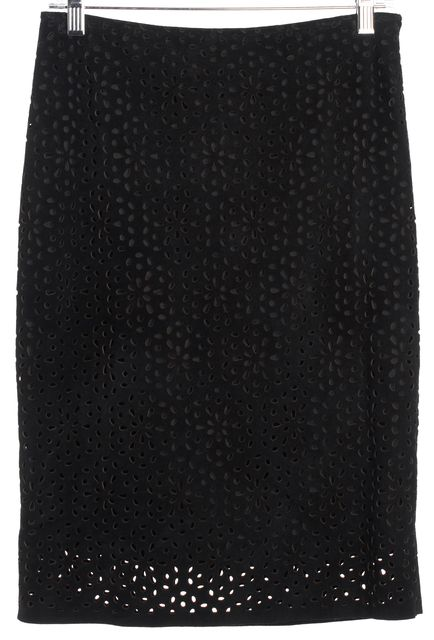 THEORY Black Leather & Suede Perforated Pencil Skirt