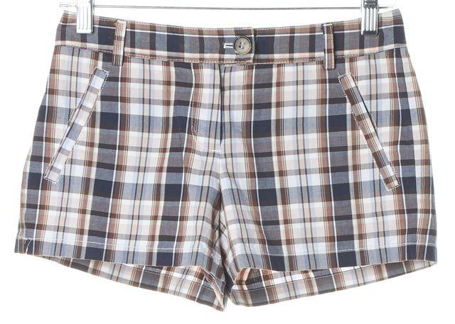THEORY Brown Plaids & Checks Casual Shorts