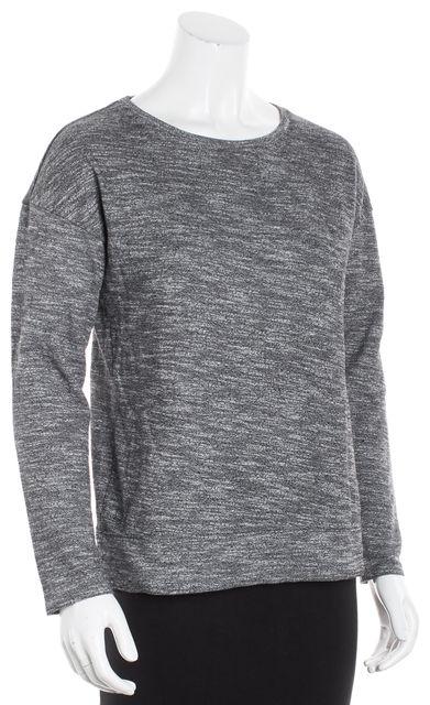 THEORY Black Marled Knit Crewneck Sweater