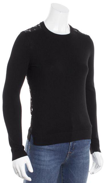 THEORY Black Long Sleeve Crewneck Lace Back Sweater