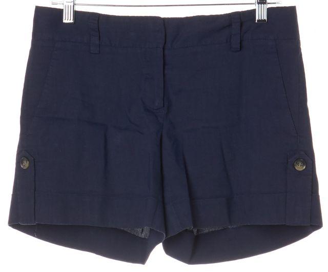 THEORY Navy Blue Linen Casual Shorts