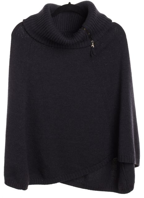 THEORY Gray Wool Turtleneck Poncho
