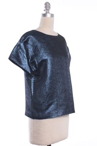 TIBI Metallic Blue Short Sleeve Boxy Top Size XS