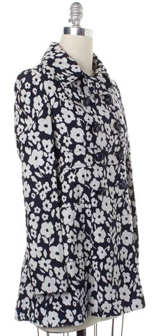 TIBI Blue White Floral Double Breasted Trench Coat