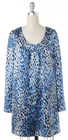 TIBI Blue Ivory Abstract Silk Shift Dress Fits Like a L