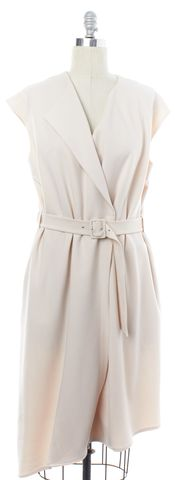 TIBI Blush Pink Double Breasted Belted Wrap Dress Size 10