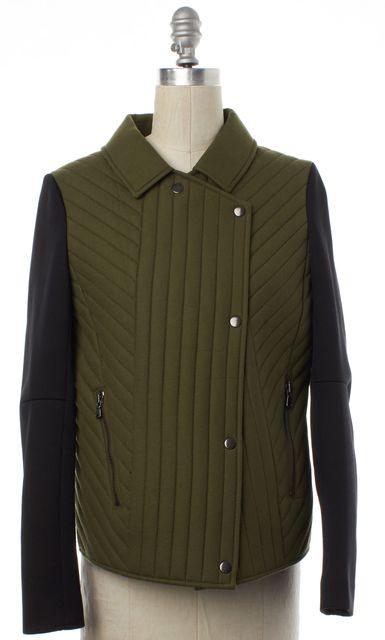 TIBI Olive Green Black Moto Style Jacket