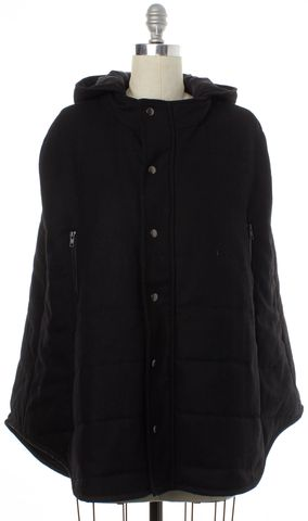 TIBI Black Wool Hooded Puffer Cape Size One Size