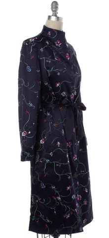 TIBI Blue Floral Embroidered Silk Snap Button Up Waist Tie Long Jacket Size S