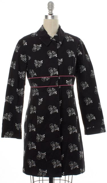 TIBI Black White Floral Button Down Basic Jacket Coat