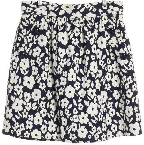 TIBI Navy Blue White Floral Print A-Line Skirt