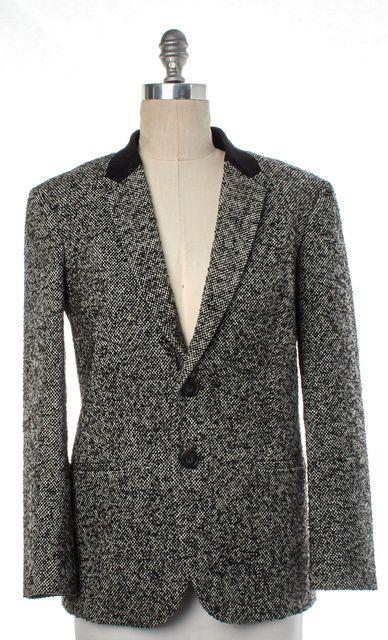 TIBI Gray Black Multi Tweed Wool Two Button Blazer