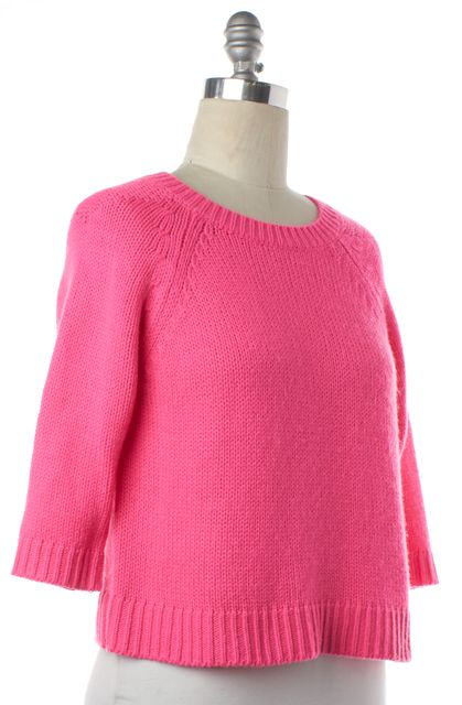 TIBI Hot Pink Crewneck Cropped Sweater