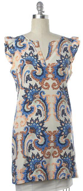 TIBI Ivory Multi Color Print Open Back Silk Shift Dress Fits Like a L