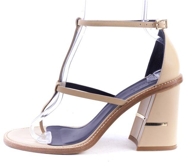 TIBI Nude Beige Leather Chloe Strappy Sandal Block Heels