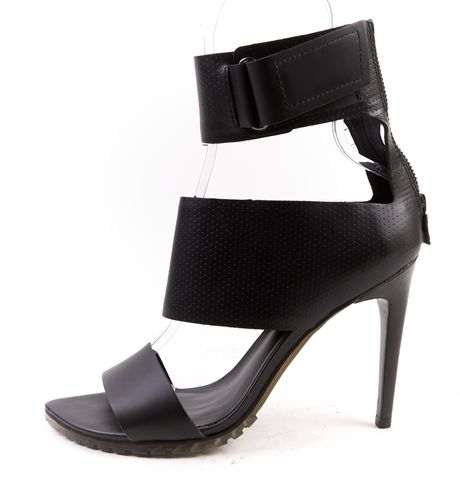 TIBI Black Perforated Leather Evie Open Toe Heels
