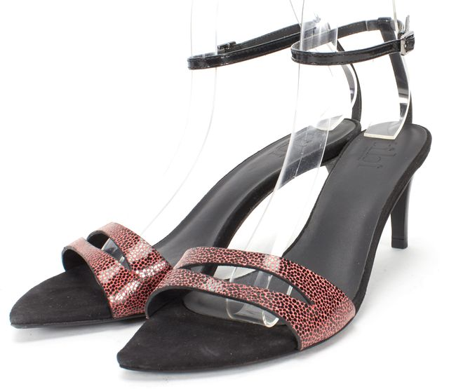 TIBI Black Pink Patent Leather Strappy Low Heel Sandals