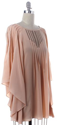 TIBI Pink Sequin Embellished Pleated Blouse