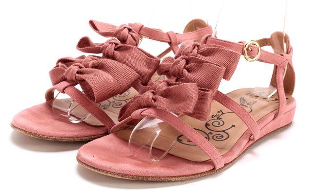 TIBI Pink Suede Bow Embellished Strap Sandals
