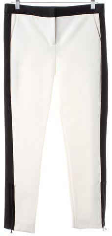 TIBI White Black Colorblock Ankle Zip Casual Pants