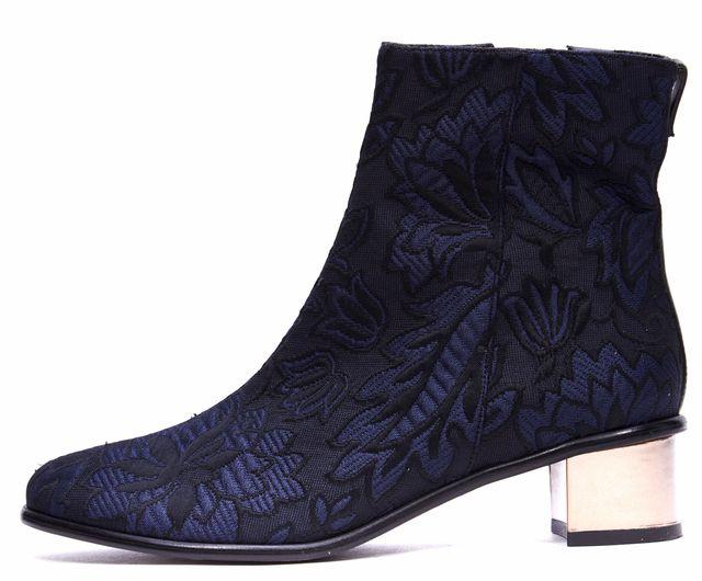 TIBI Navy Blue Black Canvas Jacquard Leather Bronze Block Heel Ankle Boots