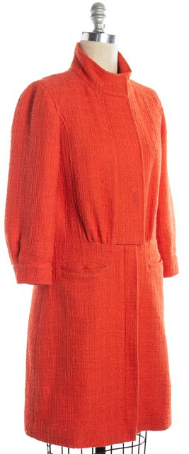 TIBI Orange Cotton Tweed Zip Up Basic Coat