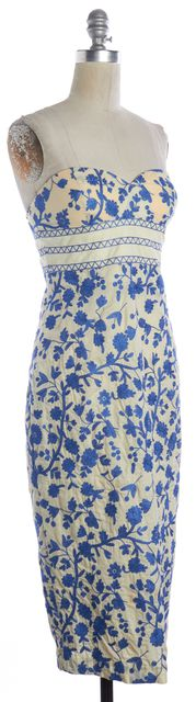 TIBI Ivory Blue Floral Embroidered Cotton Strapless Sheath Dress