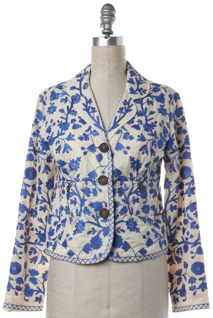 TIBI Ivory Blue Floral Embroidered Blazer