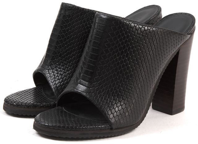 TIBI Black Snake Embossed Leather Open Toe Mules