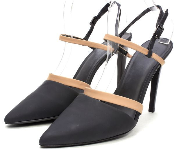 TIBI Black Beige Leather Pointed Toe Ankle Strap Heels