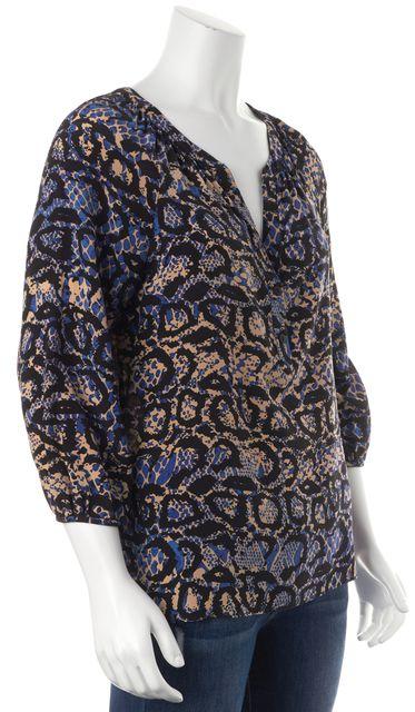 TIBI Black Blue Beige Abstract Silk 3/4 Sleeve Blouse