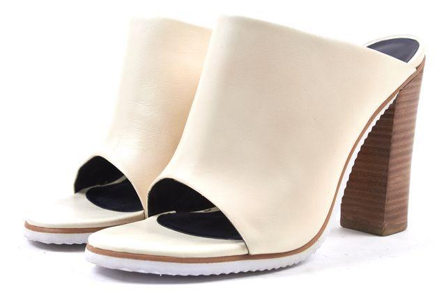 TIBI Ivory Leather Slip On Peep Toe Heels