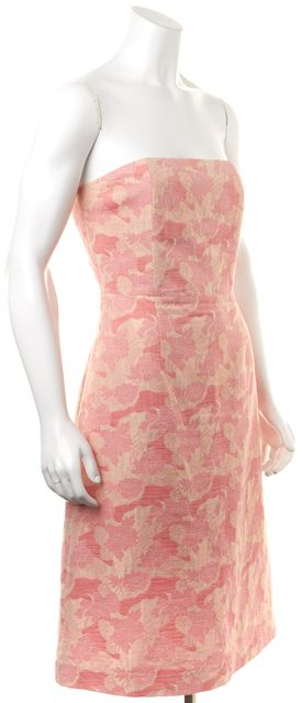 TIBI Pink Beige Metallic Gold Abstract Floral Print Casual Fit-Flare Dress