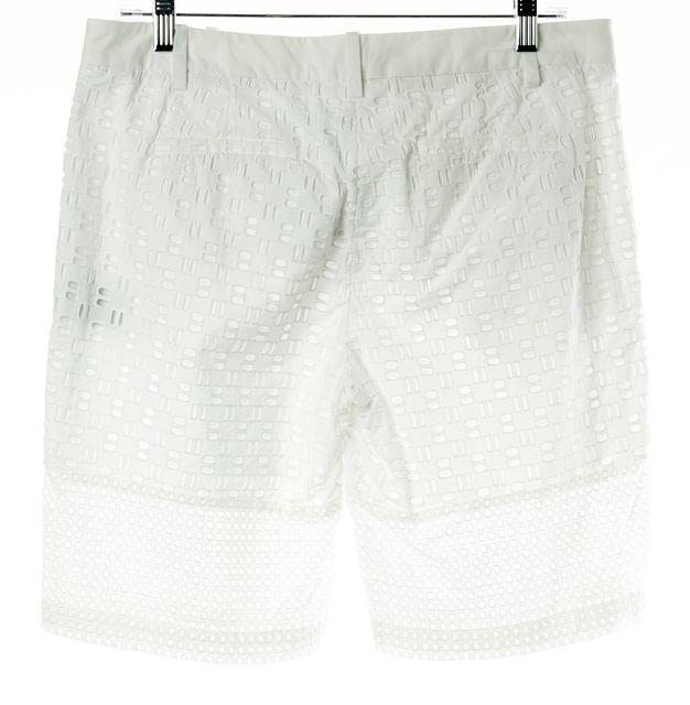 TIBI White Eyelet Cotton Semi-Sheer Bermuda, Capris Shorts