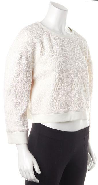 TIBI Ivory Textured Cropped Sweatshirt Top