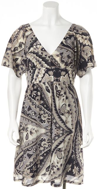 TIBI Blue Ivory Gray Abstract Floral Print Casual Fit & Flare Dress