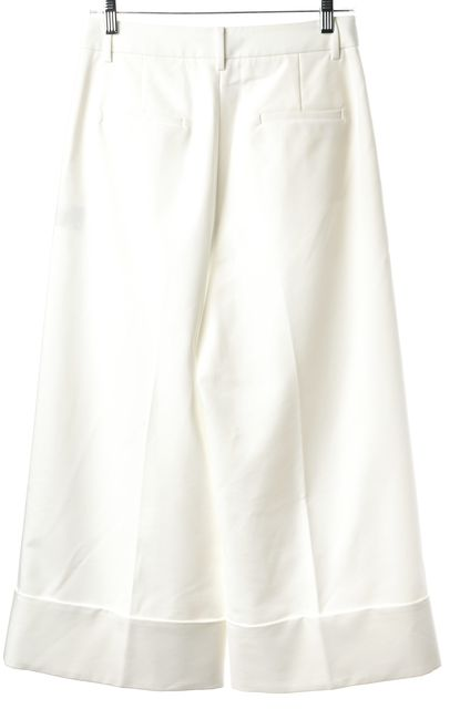 TIBI Ivory Pleated Cuffed Wide Leg Gaucho Cropped Dress Pants