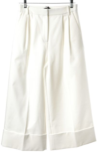 TIBI Ivory Pleated Cuffed Wide Leg Gaucho Cropped Dress Pants