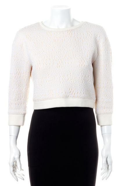 TIBI Ivory White Abstract Knit Casual Cropped Sweatshirt Blouse Top
