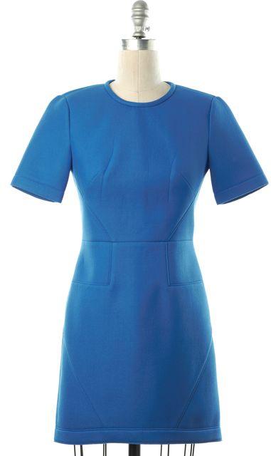 TIBI Cobalt Blue Polyester Short Sleeve Sheath Dress