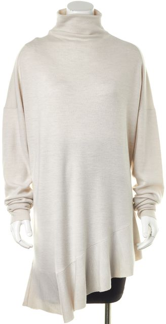 TIBI Beige Merino Wool Ruffled Asymmetrical Hem Turtleneck Sweater