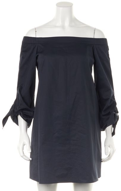 TIBI Navy Blue Cotton Off Shoulder Mini Shift Dress w Pockets