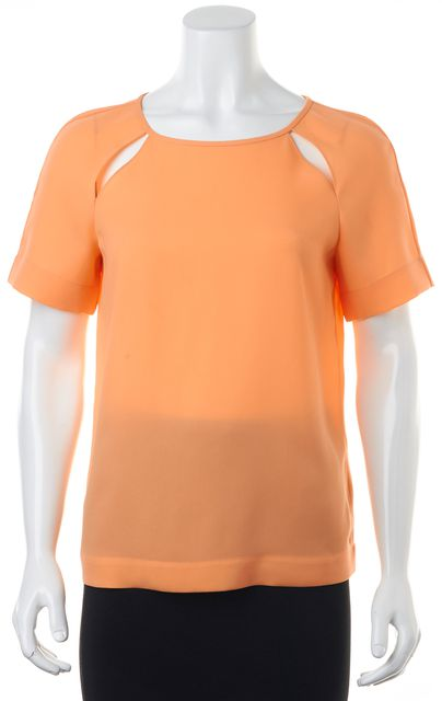TIBI Orange Cutout Short Sleeve Oversized Crewneck Blouse Top